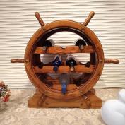 DZW Nordic Retro Rustic Wood Grilled Helmsman Wine Rack Wooden Wine Shelf, 68 * 64 * 30cm