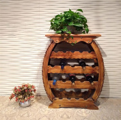 DZW Creative Nordic Retro Garden Furniture Charcoal Burning Wood Furniture Drum-Shaped Wine Rack, Solid Wood, 64 * 28 * 75cm