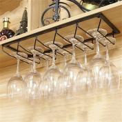 Black Hanging Mounted Metal Wine Rack,European Iron Wine Glass Hanging Rack & Goblet Holder Shelf for Kitchen/ Bar / Restaurant