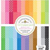 Doodlebug Petite Prints Rainbow Cardstock 30cm x 30cm 24/Pkg-Gingham/Linen Rainbow, 24 Colours/1 Each