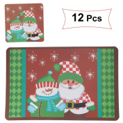 OULII Waterproof Non-slip Nonstick Heat Resistant Christmas Snowman Santa Clau Pattern Placemats Cushions Cup Coasters Dining Table Mats Christmas Decoration 12pcs