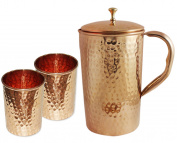 Indian Pure Copper Hammered Jug with 2 Tumbler Glass Set for Ayurvedic Healing