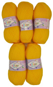 5 x 566 500 Gramme Wool Knit and Crochet Knitted Wool 100 Alize Bebe maisgelb
