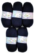 5 x 58 500 Gramme Wool 100g Knitting Wool Alize Bebe Dark Blue Knit and Crochet