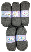 5 x 100g Knitting Wool Alize Bebe No. 197 500 Gramme Grey Wool Knit and Crochet