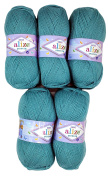 5 x 100g Knitting Wool Alize Bebe Grey No. 124 500 Gramme Wool Knit and Crochet