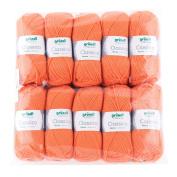 Gründl 3488 Classico, Value Pack 10 All Balls Hand Knitting Wool/Yarn 50% Virgin Wool 50 g Merino Superwash), 50% polyester, Orange, 30 x 32 x 8 cm
