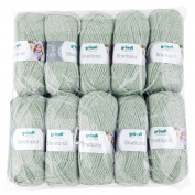 Gründl 3433 Shetland, Value Pack 10 All Balls 100g 80% Polyacrylic/20% Wool knitting wool/yarn Moss Melange, 55 x 40 x 10 cm