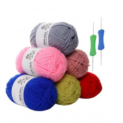 6 x 50g Balls of Assorted Multicolor Double Milk Cotton Knitting Woollen Yarn + 2 Crochets Needle