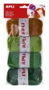 Apli 946051 - Rool of wool 4 units 50g, tones green