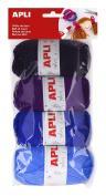 Apli 946053 - Rool of wool 4 units 50g, tones blue
