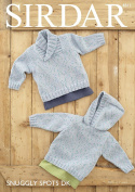 Sirdar 4811 Knitting Pattern Baby Boy's Wrap Neck Sweater and Hoodie in Sirdar Snuggly Spots DK