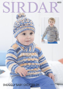 Sirdar 4800 Knitting Pattern Baby Childrens Sweaters and Hat in Sirdar Snuggly Baby Crofter DK