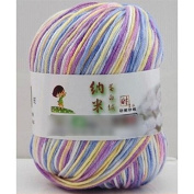 Yuhemii Mixed Colour Needlecraft Fibroin Wool Yarn Smooth Worsted Soft Silk Baby Wool Fibre(1Pcs