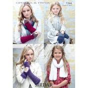 Sirdar Ladies & Girls Scarf, Mittens & Wrist Warmers Ophelia & Freya Knitting Pattern 7264 Chunky