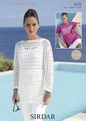 Sirdar Ladies Top & Sweater Cotton Crochet Pattern 7076 DK