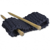 Knitting set for beginners - A kit to knit a headband - Chunky Yarn from Peru - Navy - Explanation (FR, EN, ES, DE, IT)- Knitting Kit with Needles 15 mm Perfect For An Adult Beginner