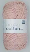 RICO CREATIVE COTTON ARAN HAND KNITTING YARN - 50g 02 Pastel Pink