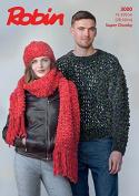 Robin Ladies & Mens Sweater, Hat & Scarf Firecracker Knitting Pattern 3000 Super Chunky