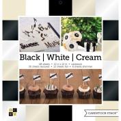 DCWV Single-Sided Cardstock Stack 30cm x 30cm 48/Pkg-Black, White & Cream Solids; 8 W/Foil