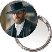 Unique Handbag, Purse Mirror with a picture of Tom Hardy in the BBC series Peaky Blinders. Delivered in a Black Organza bag for a Special Gift.