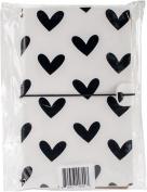 Freckled Fawn Sleek Traveller's Notebook 23cm x 15cm -Black & White Hearts