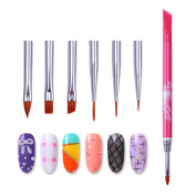 Born Pretty Nail Art Replaceable UV Gel Liner Brush 6 In 1 Painting Pen Cuticle Remover DIY Manicure Tool Kit