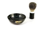 korium shaving brush set aluminium / buffalo horn - grey badger hair - Bowl made of buffalo horn