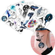 6 Sheets Galaxy Tattoo Stickers Animal Pattern Temporary Decal Beauty Body Makeup