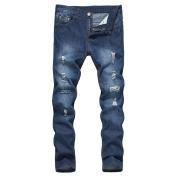 Yukong Men's Vintage Slim Skinny Denim Jeans Destroyed Taped Denim Pencil Trousers