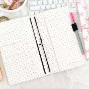 Freckled Fawn Pocket Traveller's Notebook 23cm x 15cm -Black & White Hearts