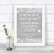 Grey Burlap & Lace Effect Photos On Instagram Personalised Wedding Sign Print