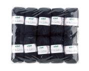 Gründl 3360 – 19 King Cotton Pack 10 x 50g Ball Knitting Wool/Yarn 55% Polyacrylic and 45% Egyptian Combed Cotton, Black, 28 x 31 x 7 cm