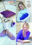 Sirdar Ladies Slippers, Wrist Warmers, Cushion & Bottle Cover KiKO Knitting Pattern 9872 Super Chunky