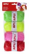Apli 946054 - Rool of wool 4 units 50g, tones fluor