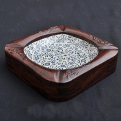 Chinese ashtray blue and white porcelain root carved ashtray crafts ashtray wood ashtray retro ashtray