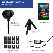 StarTastic Holiday Slide Projector - Indoor / Outdoor Christmas, Halloween, Baby, New Year and Birthday Party Slides