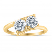 1.00ctw Diamond Two Stone Solitaire Engagement Ring in 14k Yellow Gold