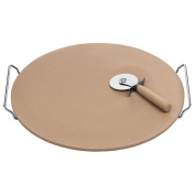 Stoneware Serving Chopping Pizza Board Platter Plate Pan Set With Chrome Handles