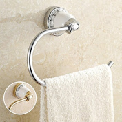QUEEN'S Continental Cu Silver Porcelain Towel Ring Gold Ceramic Hand Wiping The Hanging Loop Personality Bathroom Hardware Hang, Silver
