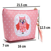 Cartoon Owl Faux Leather Make up Bag Travel Wristlet Makeup Cosmetic Holder Bag Pouch