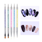 Born Pretty 5Pcs Nail Art Brush UV Gel Liner Dotting Drawing Dual-ended Colourful Sequins Handle Manicure Design Builder