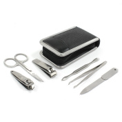 Grooming and Nail Manicure Travel Set 6 Piece In Saffiano Leather Case By Sophos Mens Accessories