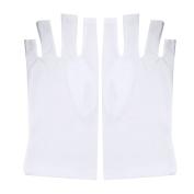 Pretty See Anti UV Glove UV Shield Glove Anti UV Protection Gloves for Gel Manicures, White
