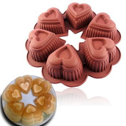 6-Cavity Love-shaped lace pattern silicone cake pan DIY baking mould Creative