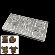 VAK Zodiac Tiger Cattle 6 cells Polycarbonate Chocolate Mould, Plastic Chocolate Mould, Sweets Pastry Bakeware Pan Tray,Cake jelly Baking Mould Ice Making Making Dish,Kitchen Accessories Baking Tool