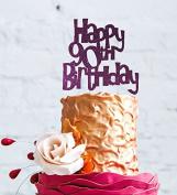 Happy 90th Birthday Cake Topper - Dark Purple