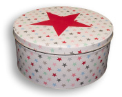 Krasilnikoff Jar with Lid with Small Colourful Stars and a large red star