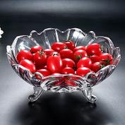 Fruit Basket Modern Creative Crystal Glass Plate Of Fruit Compote Fruit Bucket European Style Living Room Kitchen Household Basket,A