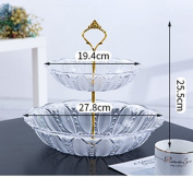 Fruit Basket Transparent Multilayer Fruit Plate Of Modern Living Room Three Layer Shuiguolan Creative Plastic Double Fruit Stand,A